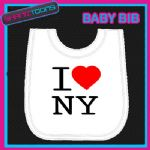 I LOVE HEART NY NEW YORK WHITE BABY BIB EMBROIDERED